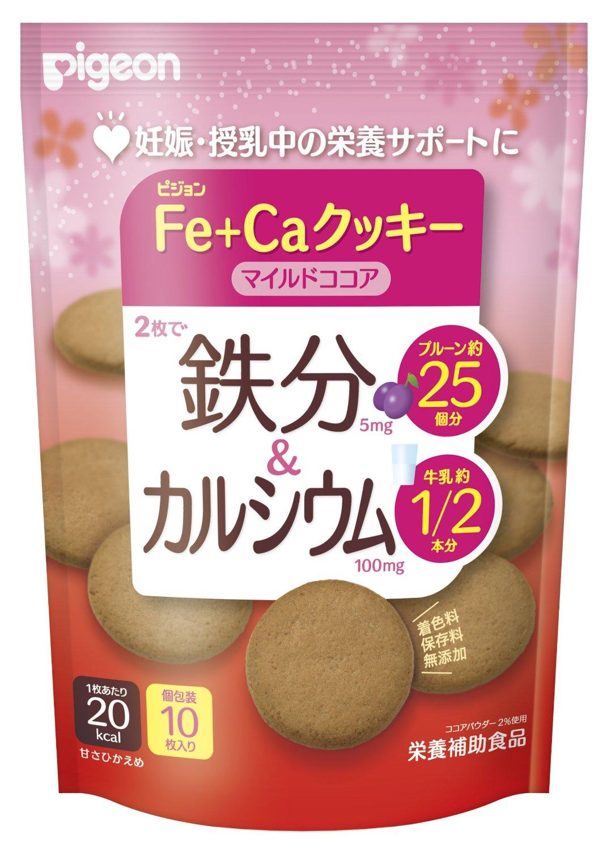 贝亲/PIGEON  孕期/哺乳期 孕妇营养食品/零食 Fe+Ca高铁补钙饼干/米饼 40g 可可味高钙加铁饼干