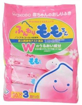 【日本直邮】和光堂/Wakodo 湿巾 桃叶滋润精华婴儿湿巾 80枚*3包