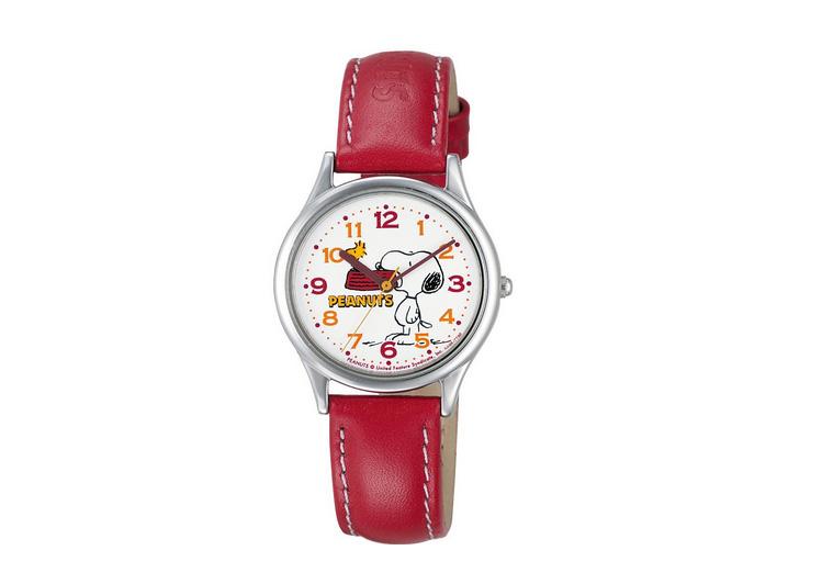 【日本直邮】西铁城/Citizen 史努比Snoopy可爱石英女表 红色 AA95-9852