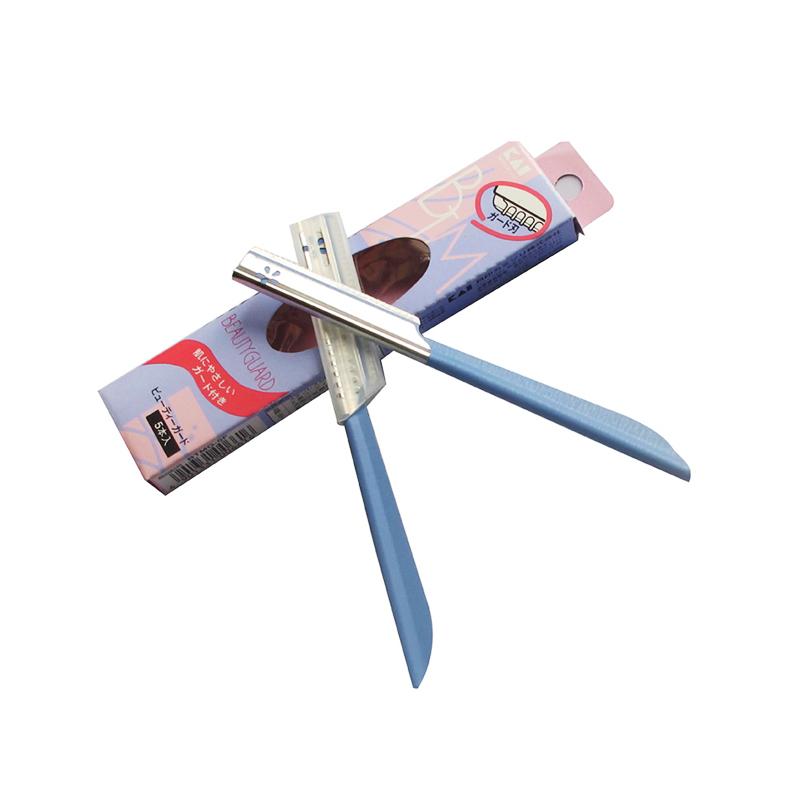 【香港直邮】【3件装 包邮包税】日本KAI贝印COSMOS带防护套新手适用安全修眉刀蓝色5支入