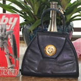 【中古品】纪梵希/GIVENCHY 黑色牛皮复古董手提包